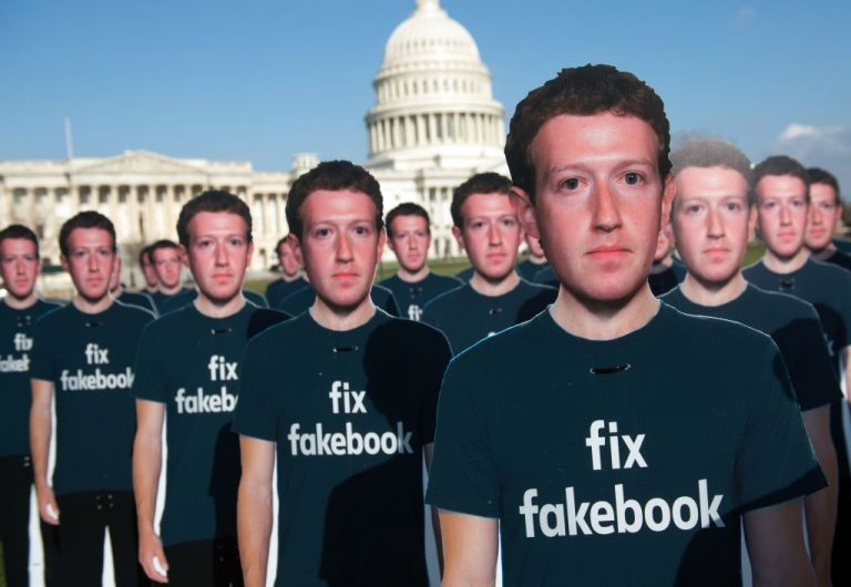 One hundred cardboard cutouts of Facebook founder and CEO Mark Zuckerberg stand outside the U.S. Capitol in Washington, D.C., April 10, 2018. Research has found Americans are becoming increasingly disenfranchised with Big Tech and legacy media outlets.