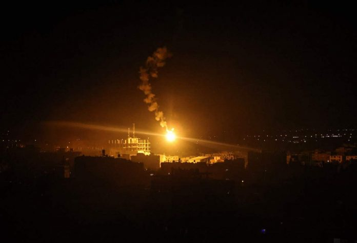 Israeli forces' flares light up the sky in Rafah in the southern Gaza Strip, on May 16, 2021. Israeli air strikes pounded the Gaza Strip while Palestinian militants launched rockets amid violence in the West Bank.