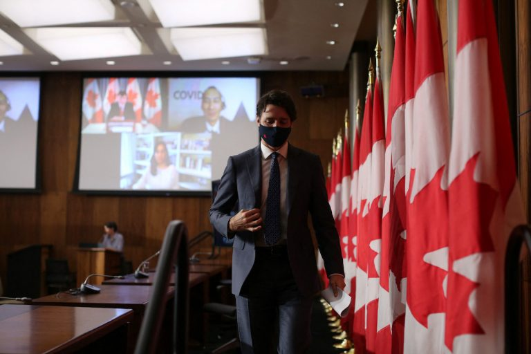 Canadian Prime Minister Justin Trudeau, one of the country's most vocal proponents of vaccines, walks off the stage after attending a news conference April 16, 2021 in Ottawa, Canada.