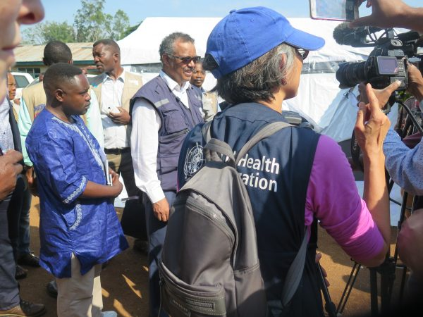 Director-General Tedros Adhanom of the WHO and other officials visited Beni in 2018 to evaluate developments on the fight against the Ebola Virus. He is accused of covering up multiple cholera outbreaks in Ethiopia in 2006, 2009, and 2011 as health minister.