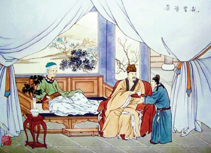 Emperor Wen of Han feeds medicine to his aging mother, the Empress Dowager