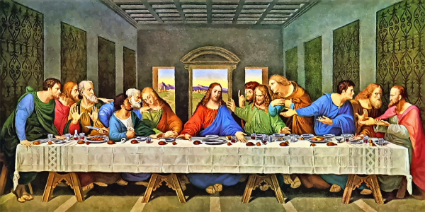 The Last Supper by Leonardo Da Vinci depicts Jesus with his disciples before he is betrayed by Judas and arrested