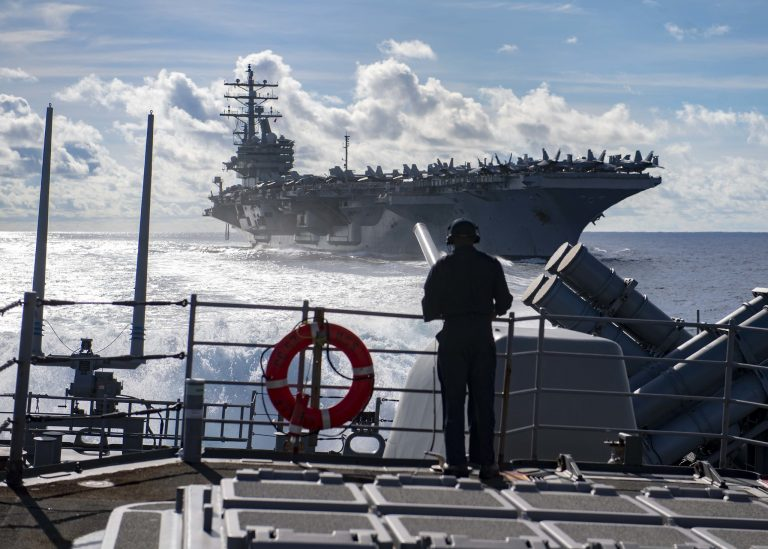 The USS Ronald Reagan at sea. The Regan will withdraw from the Asia-Pac region to help with the Afghan troop withdrawal mission promised by the Biden administration.