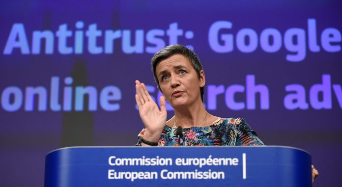 EU Commissioner of Competition Margrethe Vestager gave a joint press on Antitrust: Google online search advertising at the EU headquarters in Brussels on March 20, 2019, after Google was slapped with a fine over unfair competition. This month, Google was forced to change its marketing practices after French authorities called out foul play.