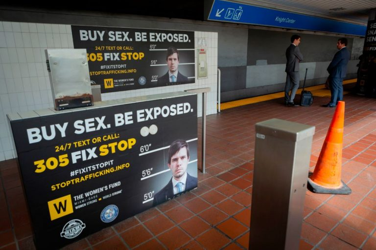 Billboards displaying a campaign against human trafficking are seen at Knight Center Metrorail station in downtown Miami, on January 9, 2020. A study by Human Trafficking Institute found most human trafficking recruitment each year occurs online, with Facebook as the majority source.
