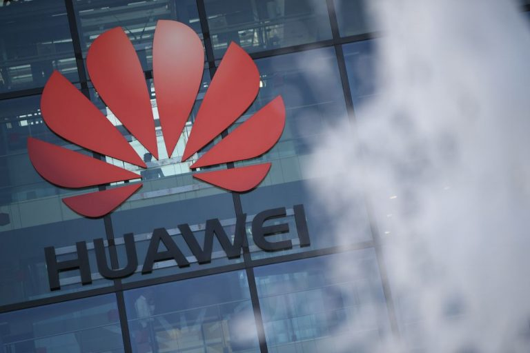 A photograph shows the logo of the Chinese Communist Party's Huawei at their main UK offices in Reading, west of London, on January 28, 2020. A former Huawei Director is on trial in Poland for serving as an agent for the communist regime's telecom giant.