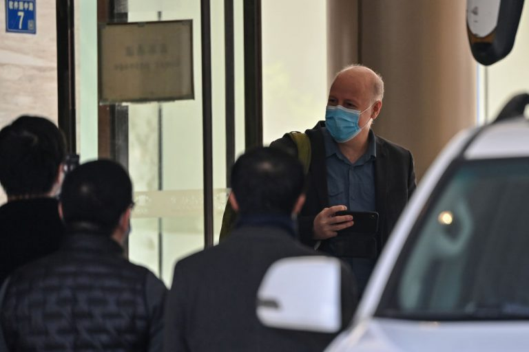Peter Daszak, one of the members of the World Health Organization (WHO) team that was investigating the origins of the COVID-19 pandemic, leaves The Jade Hotel after completing quarantine in Wuhan, China's central Hubei province, on January 28, 2021.
