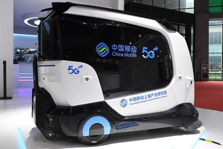 A general view of China Mobile booth on display during the 19th Shanghai International Automobile Industry Exhibition, also known as Auto Shanghai 2021, at National Exhibition and Convention Center (Shanghai) on April 20, 2021. China Mobile is one of the Chinese companies added to the blacklist.