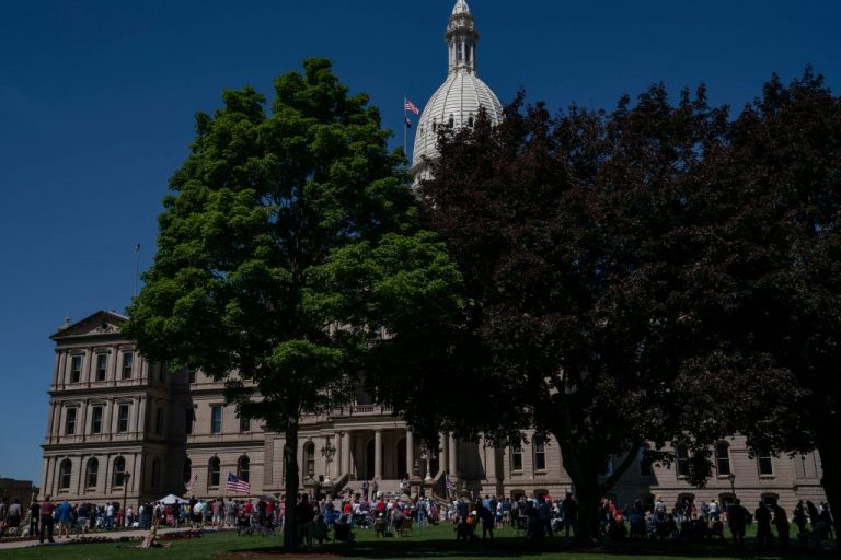 Protestors on the lawn at a Let Freedom Ring rally at the Michigan State Capitol in Lansing, Michigan, on Thursday, June 17, 2021. Rally attendees delivered affidavits to lawmakers requesting an audit of the presidential election results.