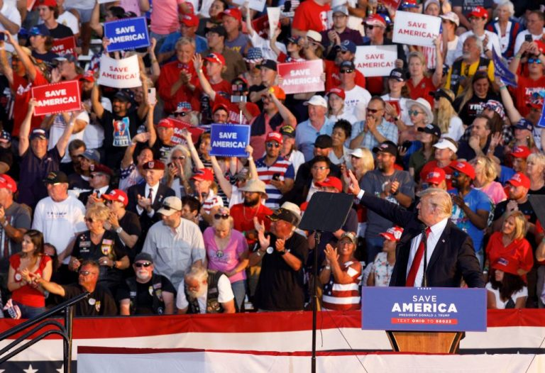 """In the 90-minute address at a fair grounds in Ohio, former president Trump made no clear mention of his political future, even when the crowd chanted """"four more years! four more years!"""""""