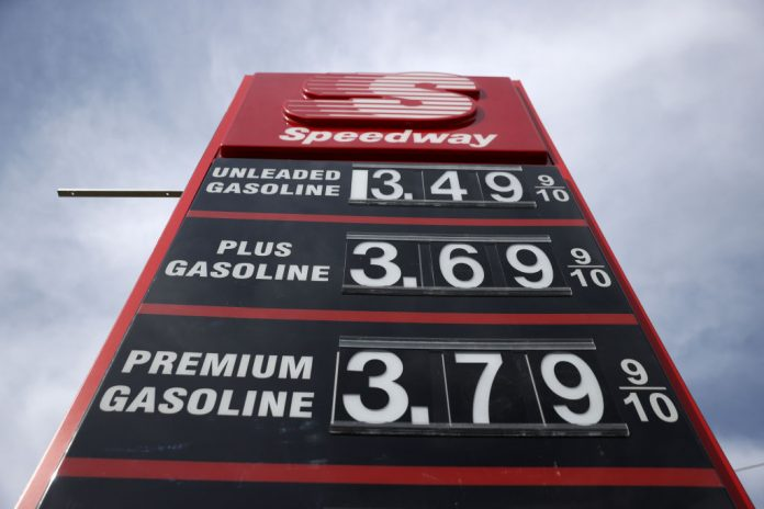 Gasoline prices are displayed at a Speedway gas station on March 3, 2021 in Martinez, California. One station in Beverly Hills and West Hollywood, LA, tagged just shy of the $6 per gallon mark for Super Plus over the Memorial Day Weekend.