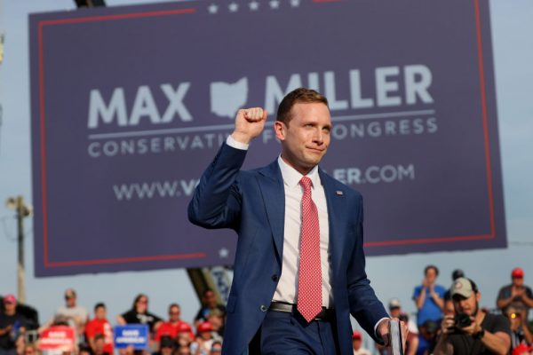 Max Miller arrives at a rally with former President Donald Trump at the Lorain County Fairgrounds on June 26, 2021, in Wellington, Ohio.