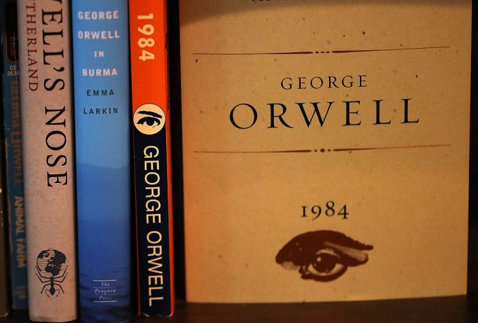 A copy of George Orwell's novel '1984' is displayed at The Last Bookstore on January 25, 2017 in Los Angeles, California. Microsoft President Brad Smith said AI reminds him of the dangers warned about in Orwell's book.
