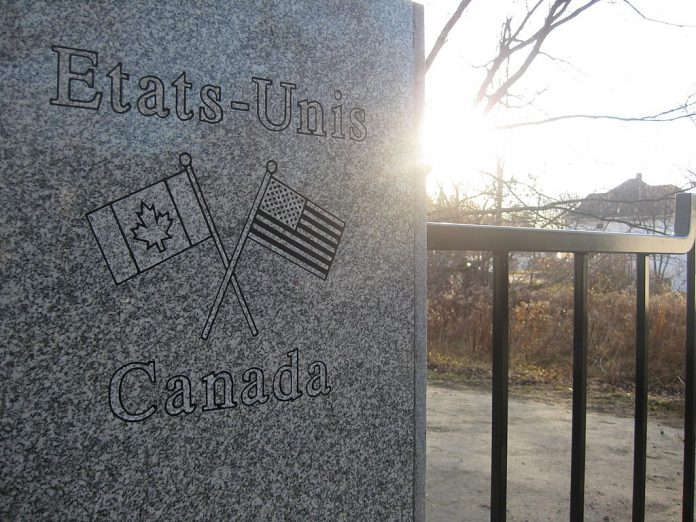 The Canadian-US border is pictured on November 13, 2009 in Stanstead, Canada. The Trudeau Liberals have opened a formal bidding process to create an Office of Biometrics and Identity Management for Canadian border control under the guise of the COVID-19 pandemic.