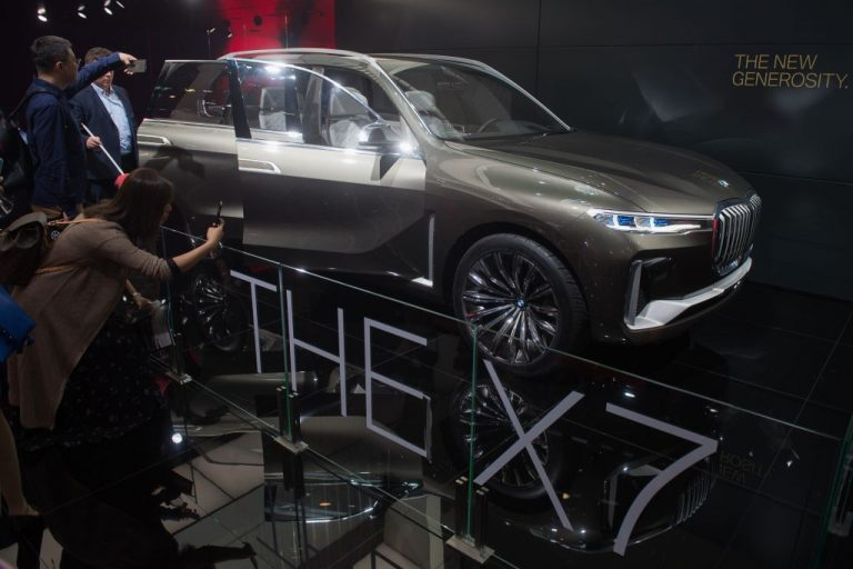 The BMW concept car X7 is seen at the Beijing Auto Show in Beijing on April 25, 2018. Canada's export scheme to China of high end luxury cars and SUVs such as the BMW X5, X7, the Mercedes GL, and Porsche Panamera have been linked to money laundering in an extensive investigation.