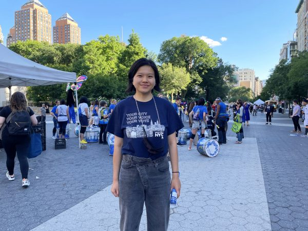 Ms. Huang, a volunteer with the Coundown to Vote event.
