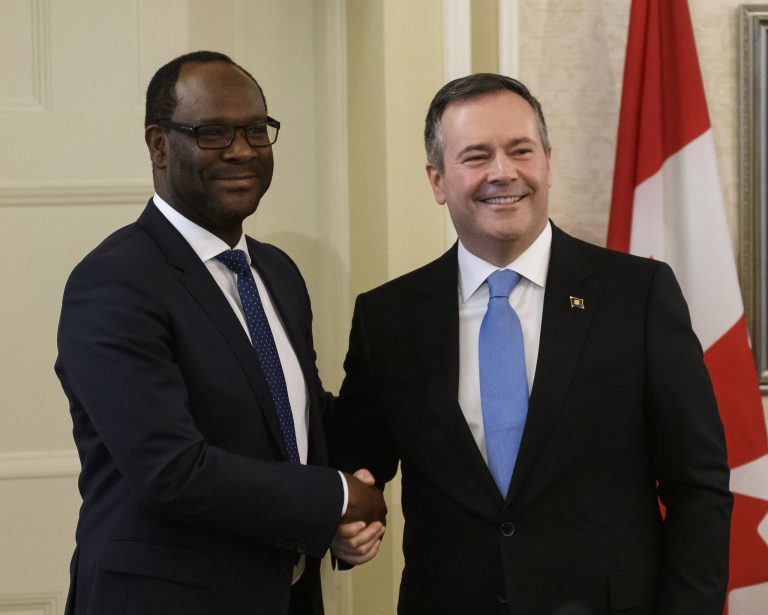 Premier Jason Kenney (R) and Cabinet are sworn in at Government House, in Edmonton on Tuesday, April 30, 2019. Pictured is Kaycee Madu (L), then-Minister of Municipal Affairs. Kenney announced Alberta will not be following other provinces, such as Manitoba, Ontario, and Quebec in installing a vaccine passport requirement at a Stampede breakfast event on July 12.