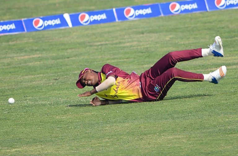 West Indies cricketer Chinelle Henry drops a catch during the 2nd Twenty20 (T20) match between Pakistan and West Indies' women cricket teams at the Southend Club Cricket Stadium in Karachi on February 1, 2019. Henry and her teammate Chedean Nation collapsed on field during a televised match against Pakistan in Antigua on July 2, 2021 just days after the club announced its roster had taken both doses of the AstraZeneca vaccine.