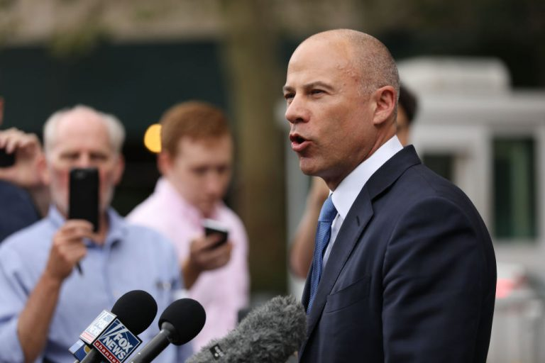 Celebrity attorney Michael Avenatti speaks to the media outside of a New York courthouse after a hearing in a case where he is accused of stealing $300,000 from a former client, adult-film actress Stormy Daniels on July 23, 2019 in New York City. A grand jury has indicted Avenatti for the Daniels-related case and a second case in which prosecutors say he attempted to extort more than $20 million from sportswear giant Nike.