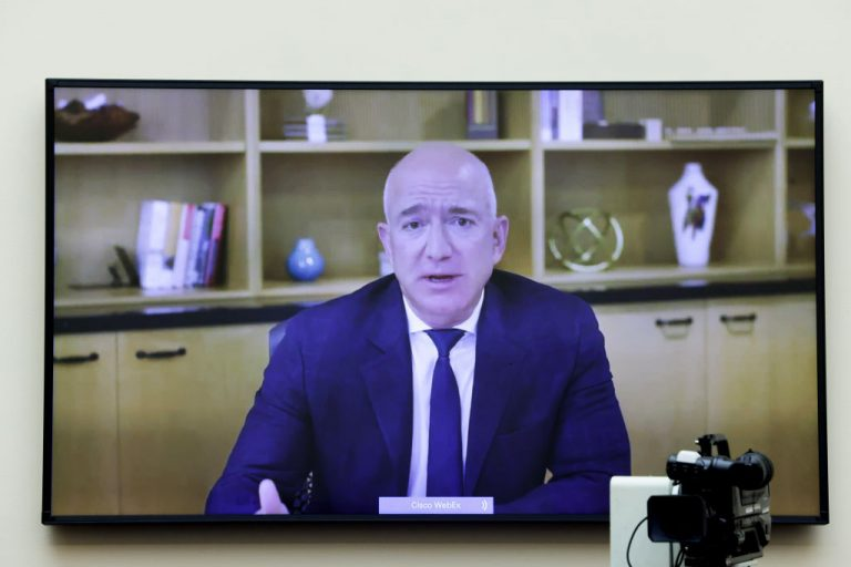 Amazon CEO Jeff Bezos testifies via video conference during the House Judiciary Subcommittee on Antitrust, Commercial and Administrative Law hearing on Online Platforms and Market Power in the Rayburn House office Building, July 29, 2020 on Capitol Hill in Washington, DC. The committee was scheduled to hear testimony from the CEOs of Apple, Facebook, Amazon and Google.