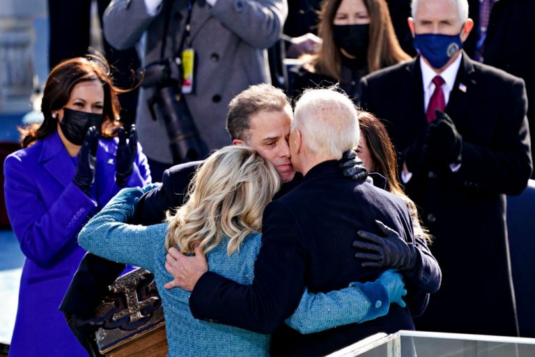 Joe Biden, right, is comforted by his son Hunter Biden and First Lady Jill Biden after being sworn in during the inauguration ceremony on the West Front of the U.S. Capitol on January 20, 2021 in Washington, DC. One of Hunter Biden's Chinese Communist Party-associated investment firms funds a company partnered with EcoHealth Alliance, a cornerstone of the Wuhan Institute of Virology's work on gain of function research into coronaviruses.