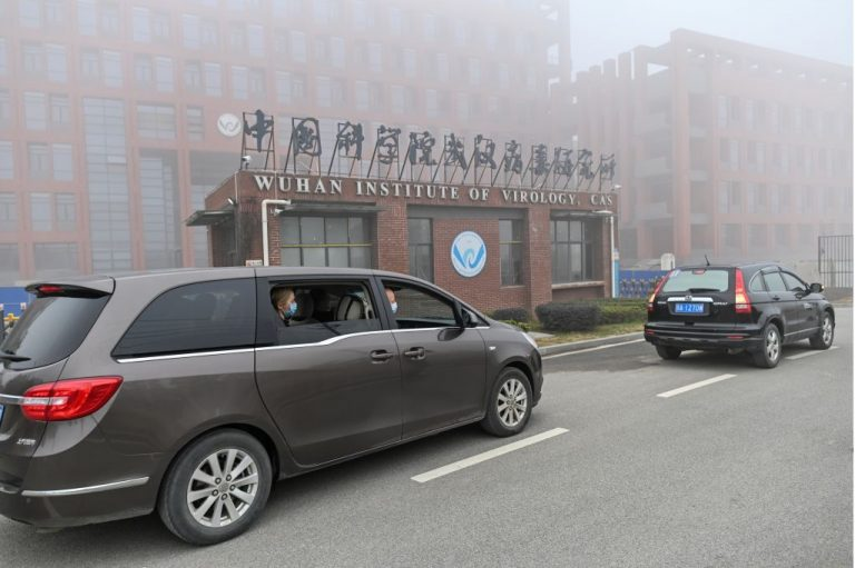 Peter Daszak (R), Thea Fischer (L) and other members of a stacked World Health Organization (WHO) team arriving at the Wuhan Institute of Virology in Wuhan in China's central Hubei province on February 3, 2021 to make a spurious investigation of the origins of the SARS-CoV-2 coronavirus. 78 percent of Americans over the age of 18 surveyed say the CCP should be made to pay reparations if it leaked COVID-19 to the world on purpose.