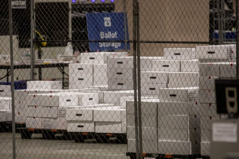Boxes of counted ballots are seen locked in the ballot storage area at the Philadelphia Convention Center on November 06, 2020 in Philadelphia, Pennsylvania.