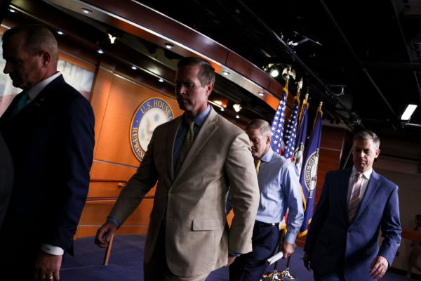 Rep. Troy Nehls (R-TX), Rep. Rodney Davis (R-IL), Rep. Jim Jordan (R-OH) and Rep. Jim Banks (R-IN) depart from a press conference on House Speaker Nancy Pelosi's decision to reject two of Leader McCarthy's selected members from serving on the committee investigating the January 6th riots on July 21, 2021 in Washington, DC.