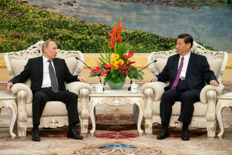 Russia's President Vladimir Putin (L) attends a meeting with China's Vice President Xi Jinping (R) prior to a meeting at the Shanghai Cooperation Organisation (SCO) summit at the Great Hall of the People on June 6, 2012 in Beijing, China.