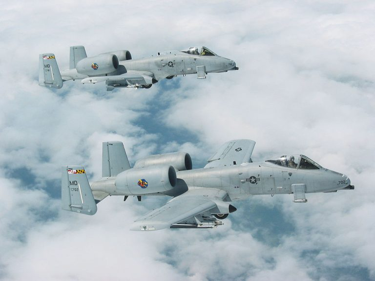 Two Maryland Air National Guard 175th Fighter Wing A-10s fly side by side June 13, 2003.