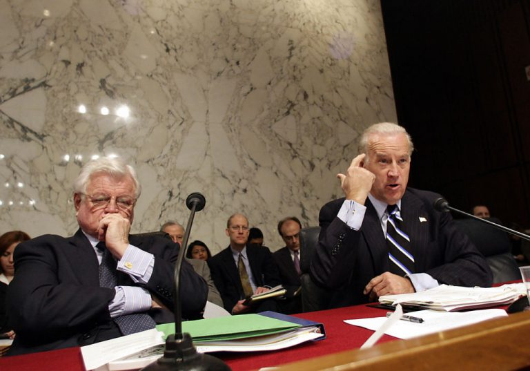 Former Sen. Joseph Biden (R), D-DE, gestures as he questions U.S. Supreme Court nominee Samuel Alito during his Senate Judiciary Committee confirmation hearing January 10, 2006 on Capitol Hill in Washington as Sen. Ted Kennedy, D-MA, looks on. Alito, former Supreme Court Justice Anthony Kennedy, and multiple U.S. circuit and appeals court judges have served as lecturers or guests for the Chinese Communist Party's Peking University's School of Transnational Law.