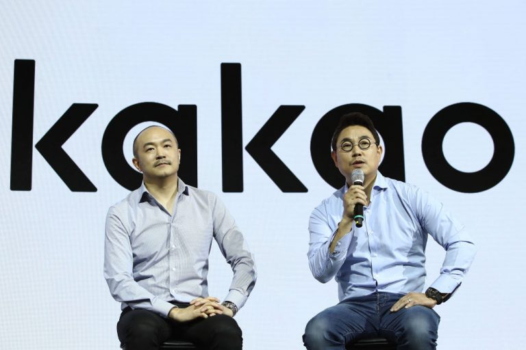 (L to R) New co-CEOs of Kakao Corp Joh Su-yong and Yeo Min-soo attend a news conference in Seoul, South Korea, on March 27, 2018.
