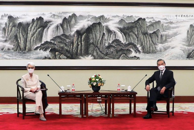 U.S. Deputy Secretary of State Wendy Sherman meets Chinese State Councilor and Foreign Minister Wang Yi in Tianjin, China in this handout picture released July 26, 2021. U.S. Department of State