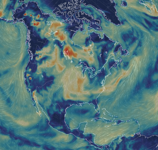 Wildfire smoke drifts across the North American Continent. Darker areas indicate a higher percentage of particulate matter, primarily caused by wildfires.