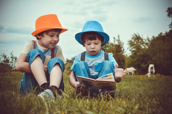 due bambini leggono su un prato