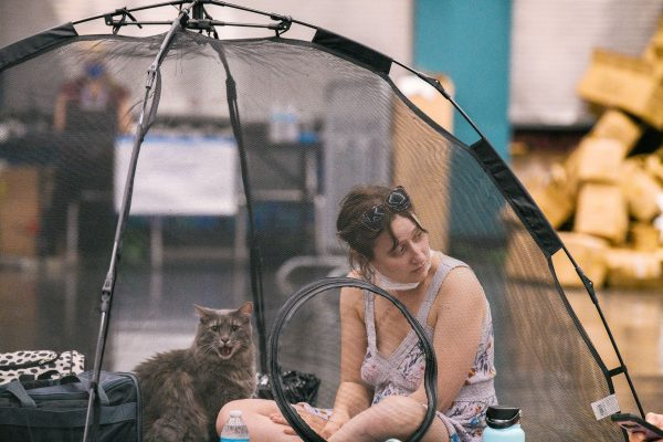 Portland-oregon-woman-with-her-cat-cooling-center