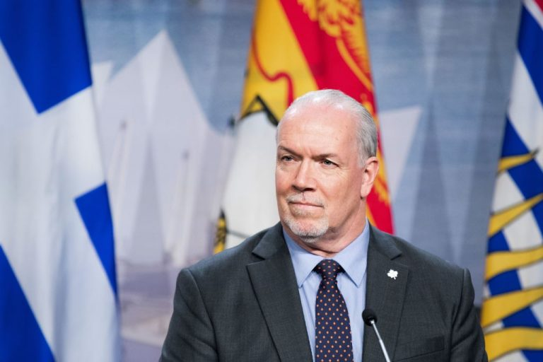 British Columbia's premier John Horgan looks on as Premiers gather during a meeting set-up by Prime Minister Justin Trudeau in Montreal, on December 7, 2018 at the Marriott Chateau Champlain. Horgan announced on August 23 that vaccine passports would be required in his province. The trend is spreading across Canada with de facto mandates imposed by professional sports teams.