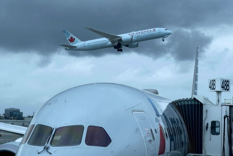 An Air Canada airplane is seen taking off from Los Angeles International Airport (LAX) on April 24, 2021. Canada will now require citizens to show their vaccination papers before being able to travel between Provinces via train or air.