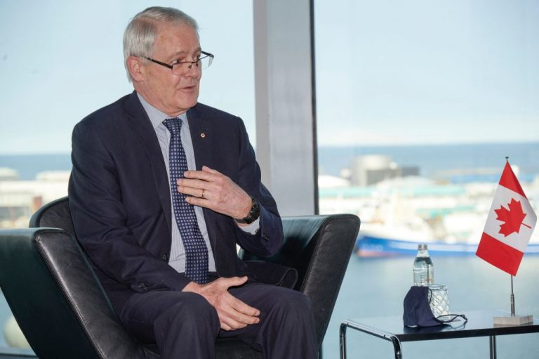 Canada's Foreign Minister Marc Garneau talks with the Icelandic Foreign Minister (unseen) at the Harpa Concert Hall in Reykjavik, Iceland, on May 19, 2021, on the sidelines of the Arctic Council Ministerial summit. While on the campaign trail on August 17, Prime Minister Justin Trudeau walked back comments Garneau made a day earlier which stated Canada may recognize the Taliban terrorist organization as the government of Afghanistan, depending on how it behaves.