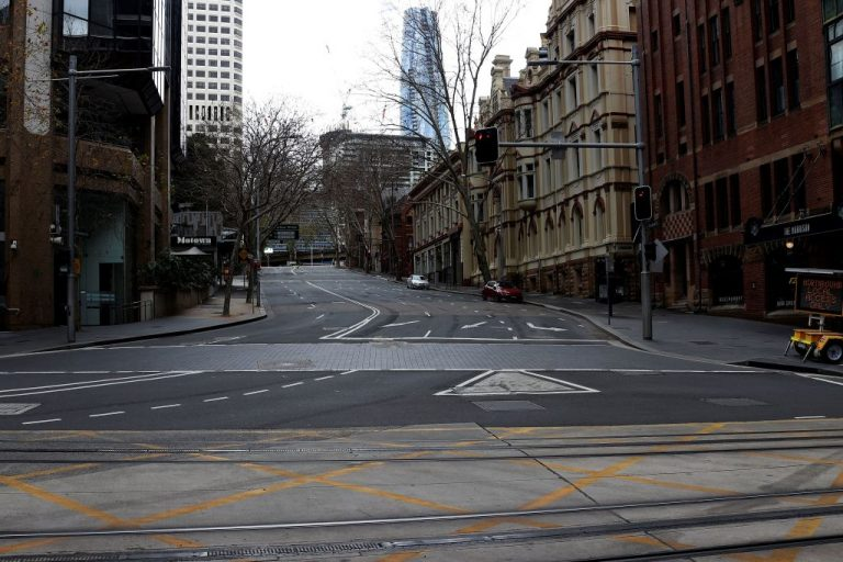 A general view of the quiet streets in the central business district of Sydney on July 31, 2021. A heavy-handed deployment of Australian law enforcement and military totally wiped out dissent in what was formerly a free country.