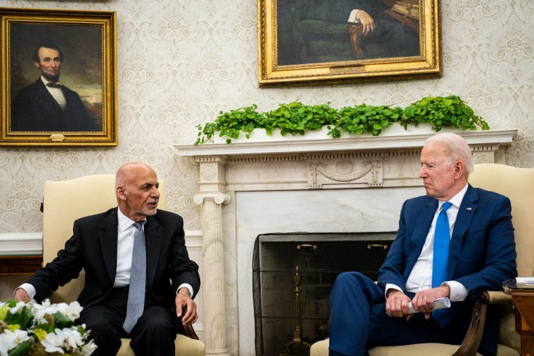 U.S. President Joe Biden hosts Afghanistan President Ashraf Ghani in the Oval Office at the White House June 25, 2021 in Washington, DC. Biden announced in April that he was pulling all U.S. forces from Afghanistan.