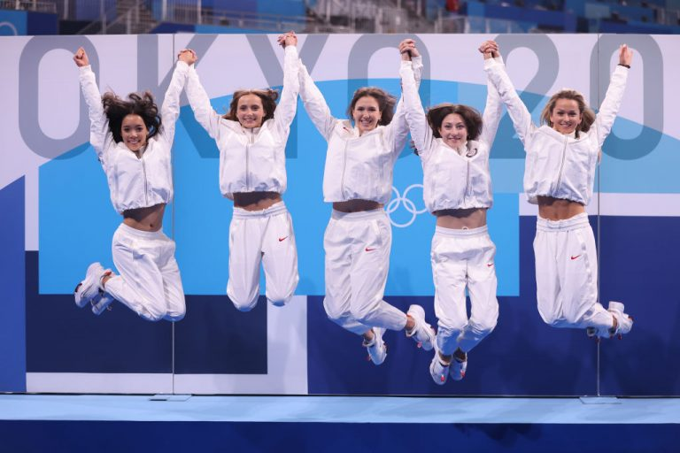 TOKYO, JAPAN - AUGUST 08: Team United States poses after the Group All-Around Final at Ariake Gymnastics Centre on August 08, 2021 in Tokyo, Japan.