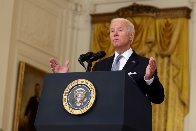 President Joe Biden gives remarks on the worsening crisis in Afghanistan from the East Room of the White House August 16, 2021 in Washington, DC.