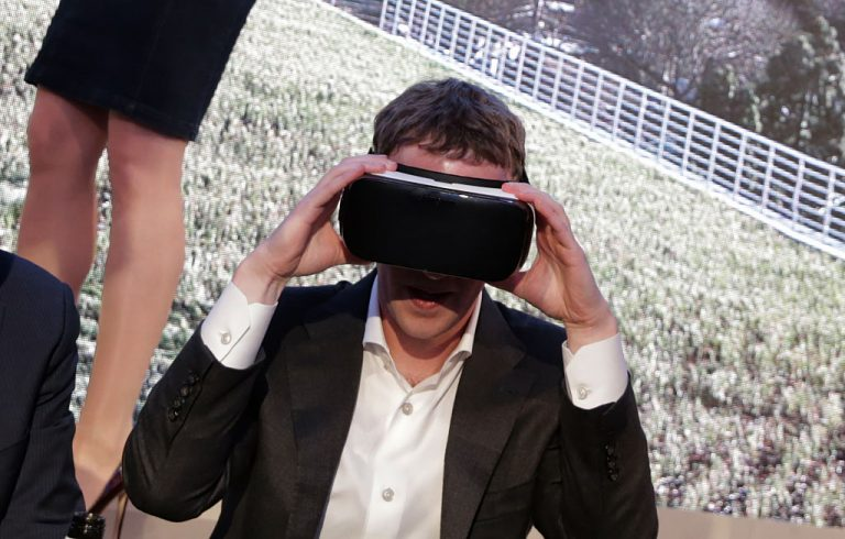 Facebook founder and chief Mark Zuckerberg wears virtual reality devices at the Axel Springer Award in Berlin on February 25, 2016. A report by the Centre for Information Resilience uncovered a network of Chinese Communist Party bots posing as human users on Twitter to spread CCP narratives. The botnet utilized artificial generated profile images that look like people and brigaded posts with each other.