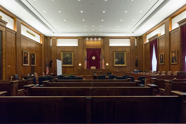 Courtroom at Potter Stewart U.S. Post Office and Courthouse, Cincinnati, Ohio. Judge Christopher Wagner ordered 21-year-old Brandon Rutherford, a black man, to accept a COVID-19 vaccination as a condition of parole on penalty of 18 months imprisonment.