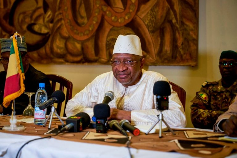 Malian Prime Minister Soumeylou Boubeye Maiga addresses the press during a conference in Mopti on October 13, 2018.