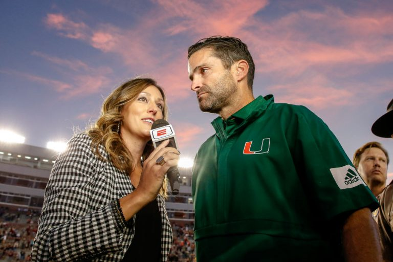 ESPN Sideline Reporter Allison Williams interviews Head Coach Manny Diaz of the Miami Hurricanes after the game against the Florida State Seminoles at Doak Campbell Stadium on Bobby Bowden Field on November 2, 2019 in Tallahassee, Florida.