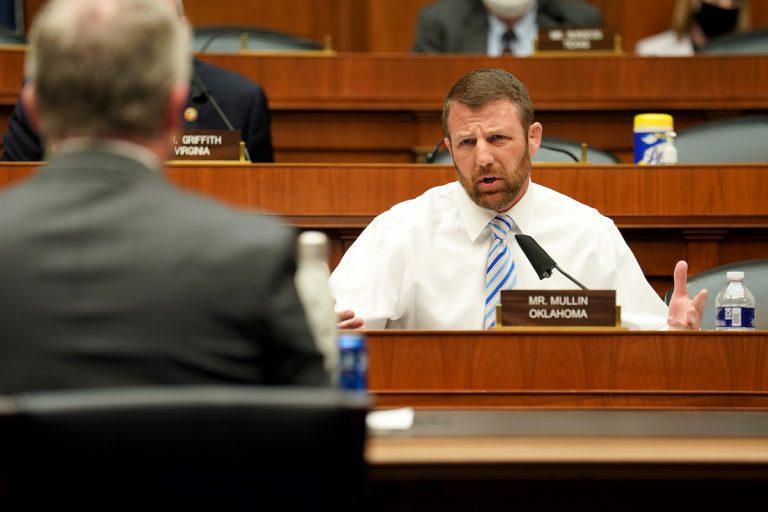 Oklahoma Congressman Markwayne Mullin, shown questioning a hearing witness on May 14, 2020 in Washington DC.