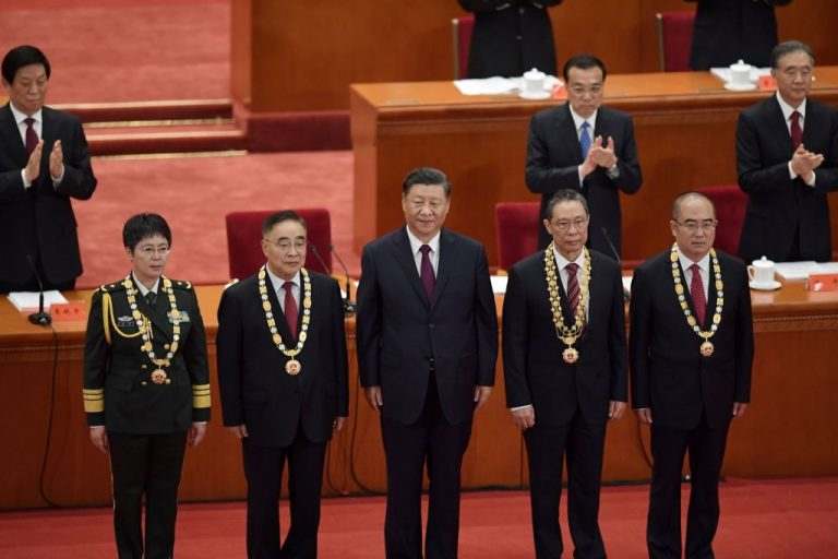 People's Liberation Army Maj. Gen. Chen Wei, Zhang Boli, Chinese President Xi Jinping, Zhong Nanshan,, and Zhang Dingyul pose for photos in Beijing on September 8, 2020. Chen Wei authored two Ebola papers with ousted Canadian researcher Qiu Xiangguo and may have been personally present in the Winnipeg National Microbiology Laboratory.