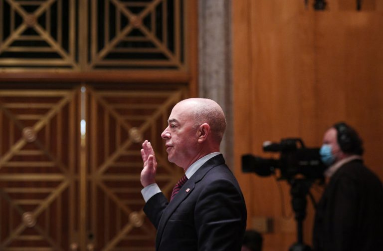 Homeland Security Secretary Alejandro Mayorkas is sworn in to testify before the Senate Homeland Security and Governmental Affairs Committee on May 13, 2021 in Washington, DC.